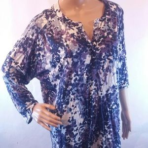 Liz Claiborne blue purple soft 3/4 sleeve top xl